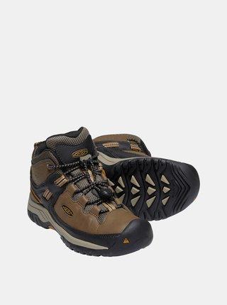 Hnedé chlapčenské kožené členkové topánky Keen