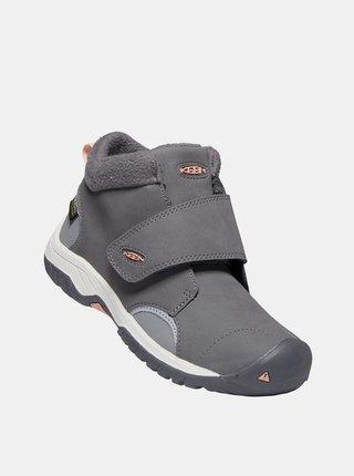 Šedé detské kožené zimné topánky Keen