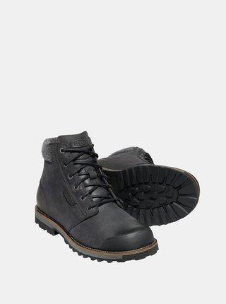 Čierne pánske kožené zimné topánky Keen