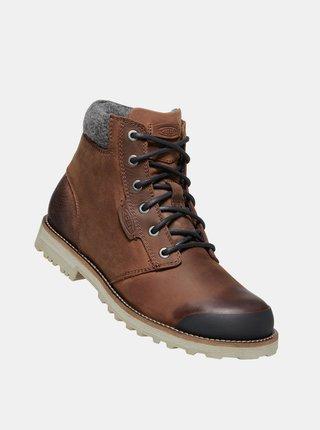 Hnedé pánske kožené zimné topánky Keen