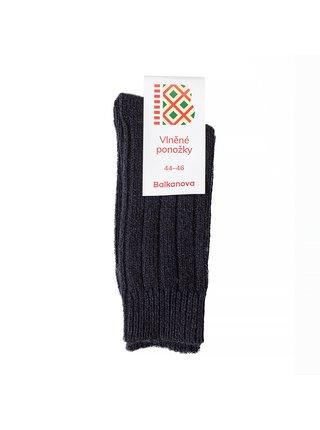Vlněné ponožky 100% vlna, silný pružný úplet (černé) Balkanova