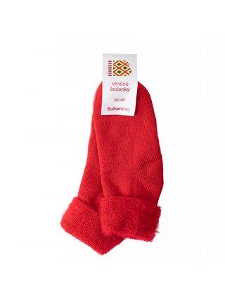 Vlněné ponožky šošonky - červené Balkanova