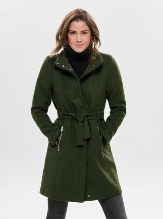 Tmavě zelený kabát s příměsí vlny ONLY Michigan