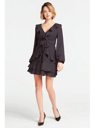 Černé puntíkované šaty s volány Guess
