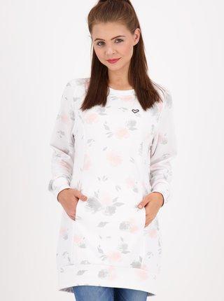 Biele kvetované mikinové šaty Alife and Kickin