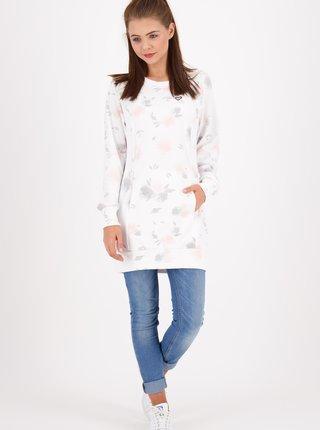 Bílé květované mikinové šaty Alife and Kickin