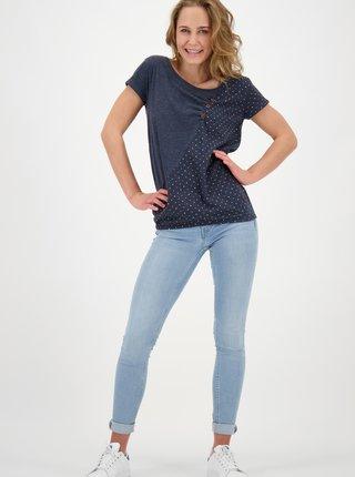 Tmavě modré dámské puntíkované tričko Alife and Kickin
