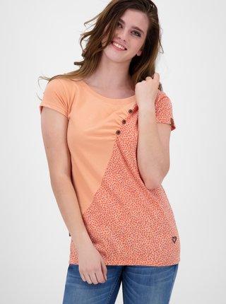 Oranžové dámské puntíkované tričko Alife and Kickin