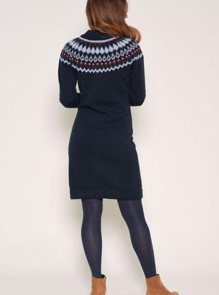 Tmavomodré vzorované svetrové šaty s prímesou vlny z alpaky Brakeburn