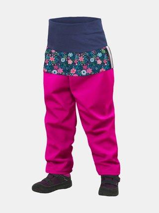 Růžové holčičí softshellové kalhoty Unuo