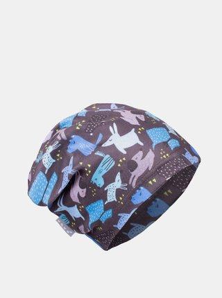 Modro-šedá chlapčenská fleecová čiapka Unuo