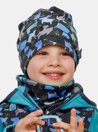 Modro-šedý chlapčenský fleecový nákrčník Unuo