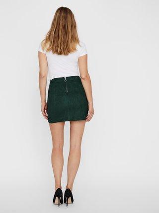 Tmavozelená sukňa v semišovej úprave VERO MODA