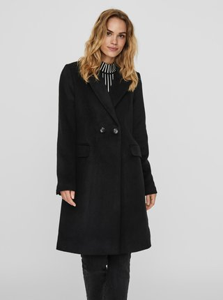 Černý vlněný kabát VERO MODA Nora