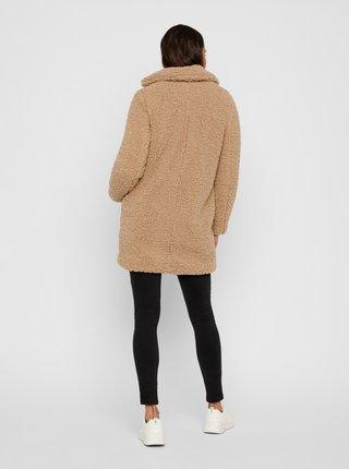 Béžový kabát z umělého kožíšku Noisy May Gabi