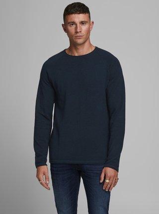 Tmavomodrý basic sveter Jack & Jones Ehill