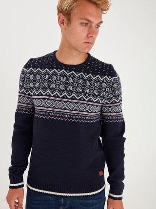 Tmavomodrý vzorovaný sveter s prímesou vlny Blend