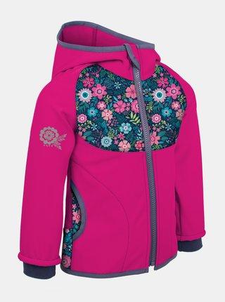 Ružová dievčenská softshellová bunda Unuo