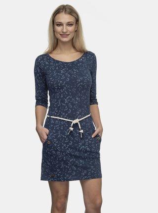 Tmavomodré kvetované šaty Ragwear