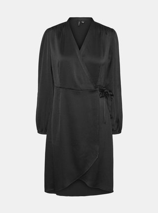 Černé saténové zavinovací šaty VERO MODA Erin