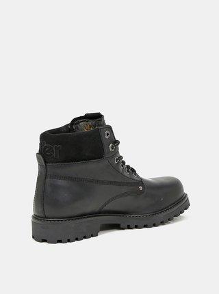 Čierne pánske kožené zimné topánky Wrangler