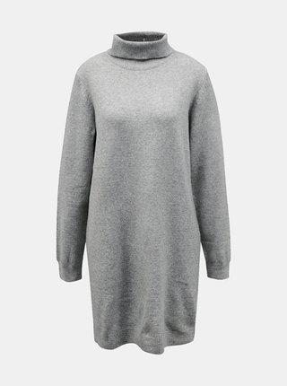 Svetlošedé svetrové šaty s rolákom Jacqueline de Yong