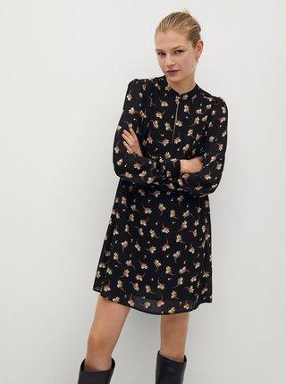 Černé květované šaty Mango