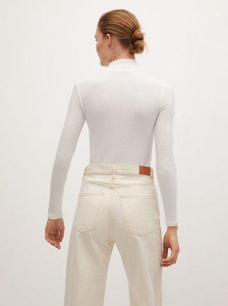 Bílé tričko se stojáčkem Mango
