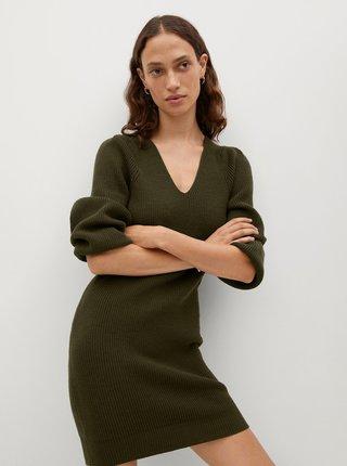 Khaki svetrové šaty Mango