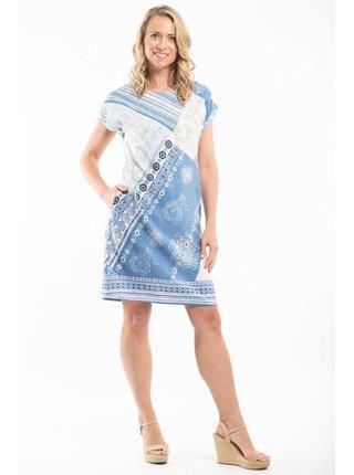 Orientique modro-bílé šaty Corfu s krátkým rukávem
