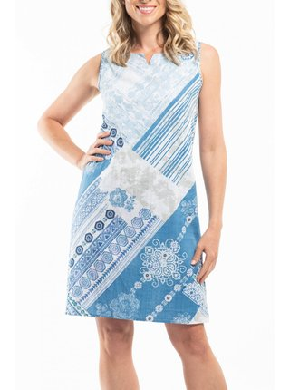 Orientique modro-bílé oboustranné šaty Corfu