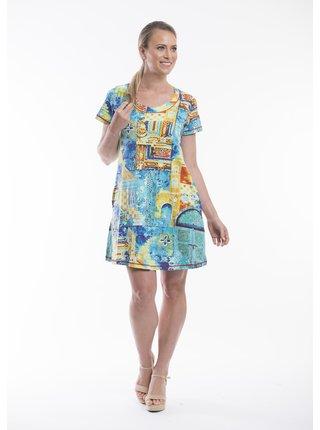 Orientique modré šaty Tunics Slub Persian Door