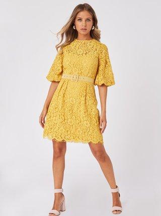 Žlté krajkové šaty Little Mistress
