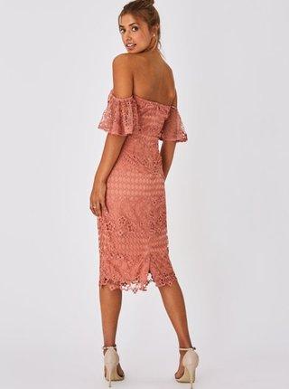 Ružové krajkové púzdrové šaty Little Mistress