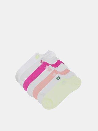 Sada siedmich párov členkových ponožiek v ružovej a bielej farbe TALLY WEiJL