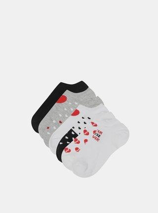 Sada sedmi párů vzorovaných kotníkových ponožek v šedé a bílé barvě TALLY WEiJL