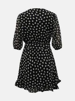 Černé vzorované zavinovací šaty TALLY WEiJL