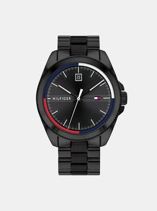 Pánske hodinky s čiernym ocelovým remienkom Tommy Hilfiger