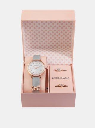 Sada dámskych hodiniek a dvoch prsteňov Excellanc