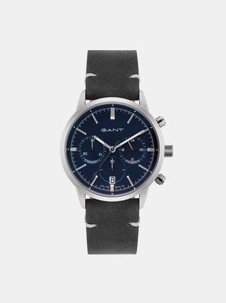 Dámske hodinky s čiernym koženým remienkom GANT