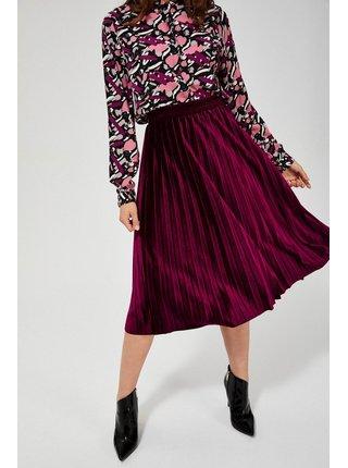 Moodo vínová sametová sukně pod kolena