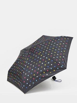 Čierny dámsky vzorovaný skladací dáždnik Esprit