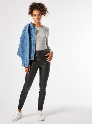 Čierne koženkové nohavice Dorothy Perkins Tall