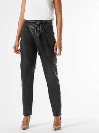 Čierne koženkové nohavice so zaväzovaním Dorothy Perkins Tall