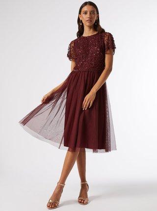 Vínové šaty s flitrovým topom Dorothy Perkins