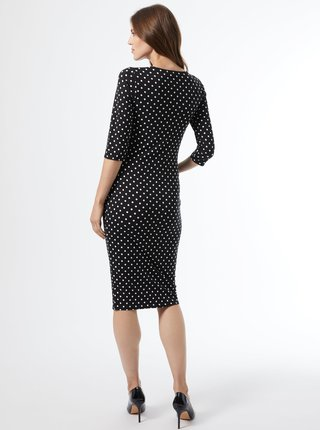 Čierne bodkované púzdrové tehotenské šaty Dorothy Perkins Maternity