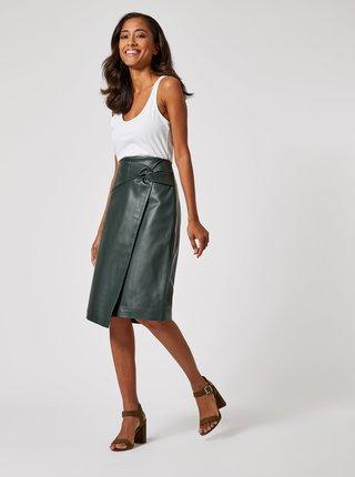 Tmavě zelená zavinovací koženková sukně Dorothy Perkins Petite