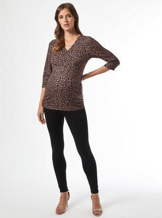 Hnědé vzorované těhotenské tričko Dorothy Perkins Maternity