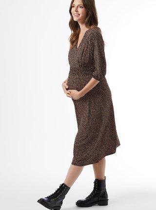 Černé vzorované těhotenské midišaty Dorothy Perkins Maternity