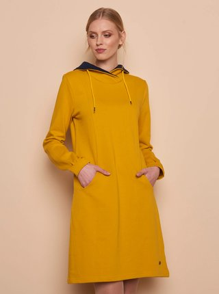 Žluté mikinové šaty s kapsami Tranquillo